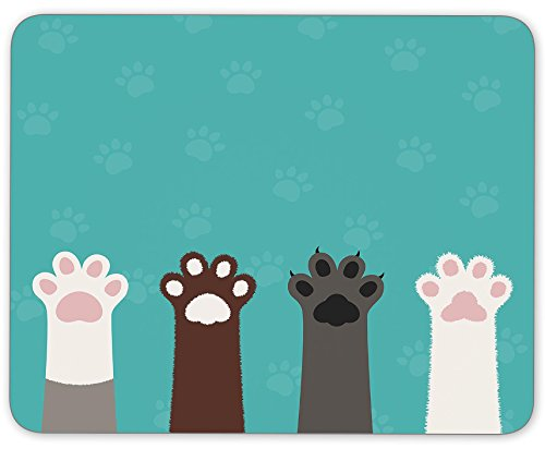 TuMeimei Non-Slip Rubber Mouse Pad, Cute animal hands mouse pad (9.5 inch x 7.9 inch)