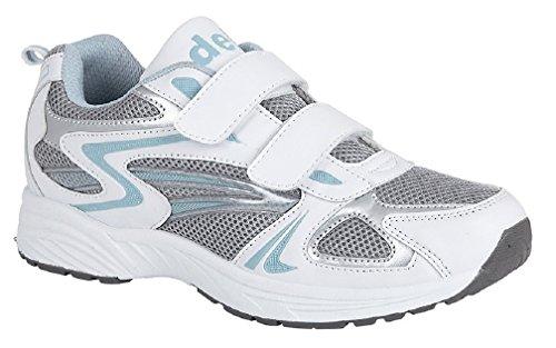 Dek, scarpe da ginnastica con chiusure in velcro e tomaia morbida, bianche e blu