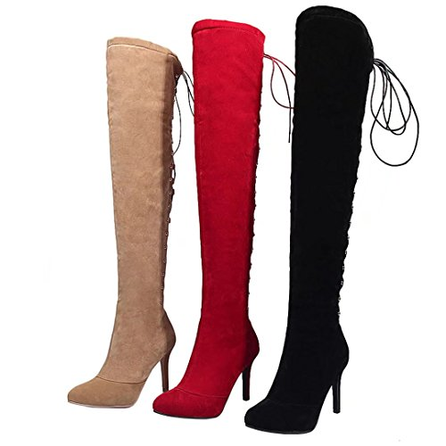 AIYOUMEI Damen Stiletto Overknee Stiefel mit 9cm Absatz und Schnürung Elegant Langschaftstiefel Schuhe Rot