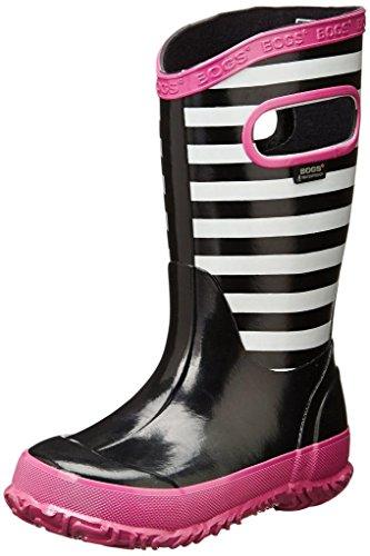 Bogs Kids Stripes Rain Boot , Black Multi, 12 M US Little Ki