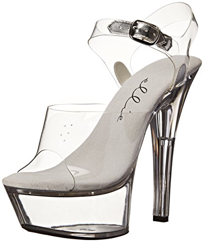 Ellie Shoes Women's 601-brook, Clear, 10 M US (Platform Stripper)