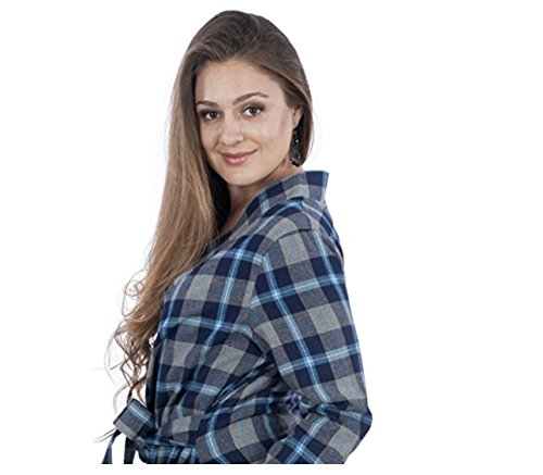 my bella mama Long Sleeve Cozy 100% Cotton Flannel Robe - Plaid (Small, Vermont (No Side (Bella Robe)