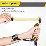 Portzon Wrist Rocket Slingshot, with Ammo (30pcs) 2 Slingshot Bands, Folding Hunting Slingshot for Adults Outdoor Catapult