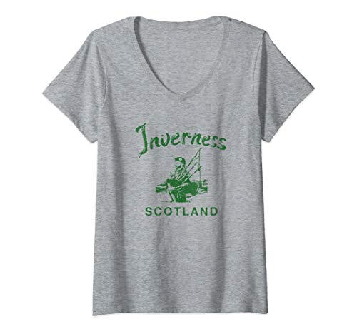 Womens Inverness Scotland Scottish Bagpipes Vintage Gaelic  V-Neck T-Shirt
