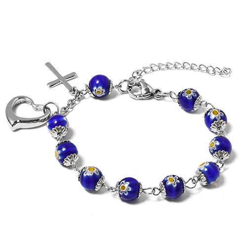 - Shop LC Round Bead Strand Murano Millefiori Glass Station Link Charm Bracelet Prayer Religious Cross Heart Charms Bracelet Bangles for Women Jewelry Gift 7