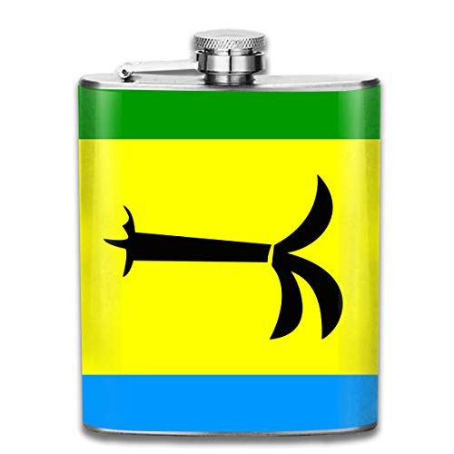 Stainless Steel Hip Flask, 7 OZ Flag Of Saint Christopher Nevis Anguilla Pocket Container For Drinking Liquor Vodka