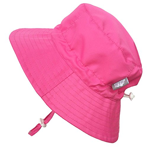Baby 50+ UPF Bucket Sun Hat, Size Adjustable Aqua Dry ( S: 0 - 6m, Hot Pink )