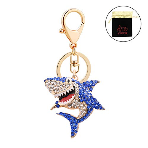 Charm Shark Key Chain Ring Cute Keychain Accessories with Clip Gold Bell Pendants for Girls Boys Women