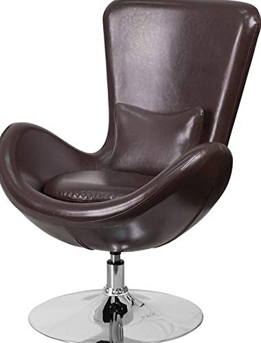 (Campton Contemporary Design Brown Leather Egg Series Reception Lounge Accent Side Chair | Model LNGCHR - 93)