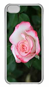 Customized iphone 5C PC Transparent Case - White Rose With Red Edges Personalized Cover