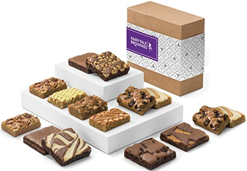 (Fairytale Brownies Bar & Brownie Combo Gourmet Chocolate Food Gift Basket - 3 Inch Square Full-Size Brownies and 3 Inch x 2 Inch Blondie Bars - 15 Pieces - Item CF381 )