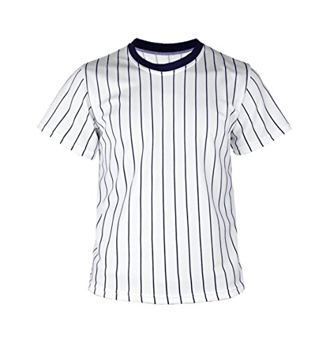 (myglory77mall Crewneck Pinstripe Baseball Coolmax Dryfit tshirts Jersey US S(M tag) Navy)