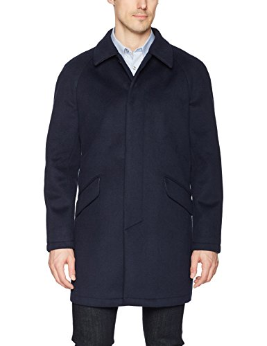 DKNY Men's Delaney Water Resistant Top Coat, Navy Solid, 40 Long by DKNY