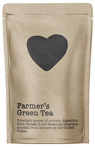 (Farmer's Green Tea, 15-20 Servings, Eco-Conscious Zip Pouch, Caffeine Free, Pure Loose Leaf Tea Grown in America)