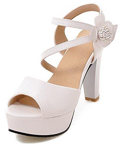 Aisun Donna Strappy Fiore Gancio E Anello Dressy Grosso Tacco Alto Sandali Peep Toe Piattaforma Con Cinturino Alla Caviglia Bianco