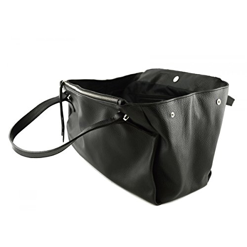 Borsa Donna In Vera Pelle Colore Nero - Pelletteria Toscana Made In Italy - Borsa Donna