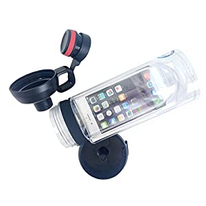 iphone 6 6s 6 Plus 7 7 Plus Smart Sport Water Bottle .4L iBottle Waterproof Storage Organizer Call Music Available in Swimming Yoga (Black, for Iphone 6 Plus 7 Plus)