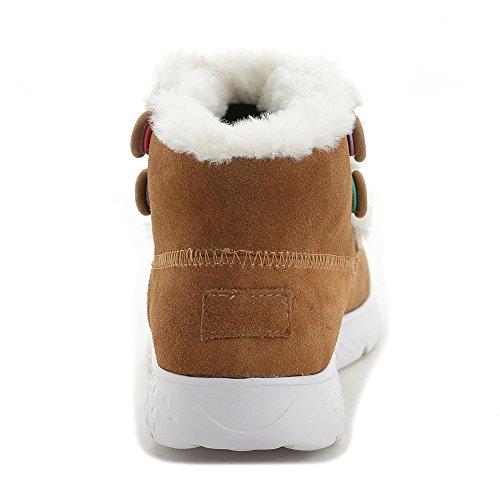 Giy Damesmode Hoge Top Bontvoering Snowboots Platform Dikke Bodem Winter Warme Bootieschoen Bruin