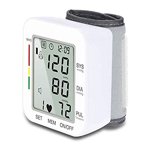 Blood Pressure Monitor Wrist Automatic Digital Blood Pressure Monitor 120 Set Memory Voice Broadcast Adjustable Cuff Powered by Batteries Accurate Blood Pressure Monitor for Home Use