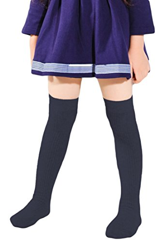 Price comparison product image American Trends Girls School Uniform Stockings Cotton Cable-Knit Skirt Knee High Long Socks For Children Kids Outfits Navy M ( Age: 6-8yrs)