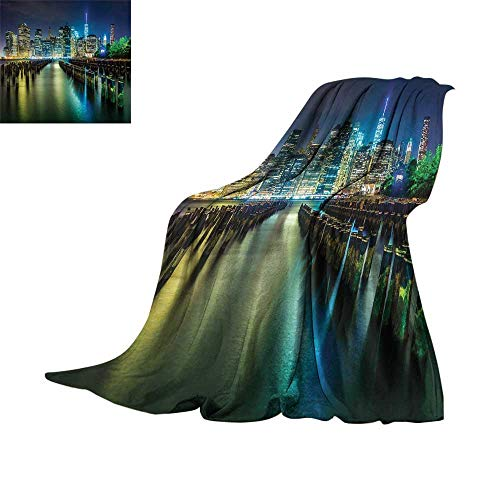 New York,Throw Blankets Pier Pilings and Manhattan Skyline at Night Downtown Urban East River Blanket for Bed Couch W70 x L60 -