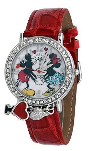 Disney Mickey Round Charm - Disney MCKAQ1268 Girl's Loving Couple Mickey and Minnie Mouse Rhinestone Charm Red Strap Watch