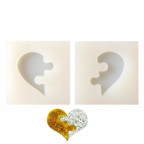 2 pcs/Set Heart-Shaped Puzzle&Jigsaw Jewelry Silicone Mold with Hole for Polymer Clay, Crafting, Resin Epoxy, Pendant Earrings Making, DIY Mobile Phone Decoration Tools,Semi-Transparent