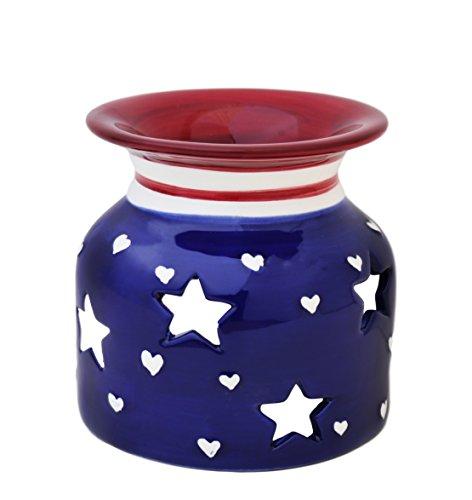 American Flag Hand-Painted Caramic Tart Burner 4 1/4