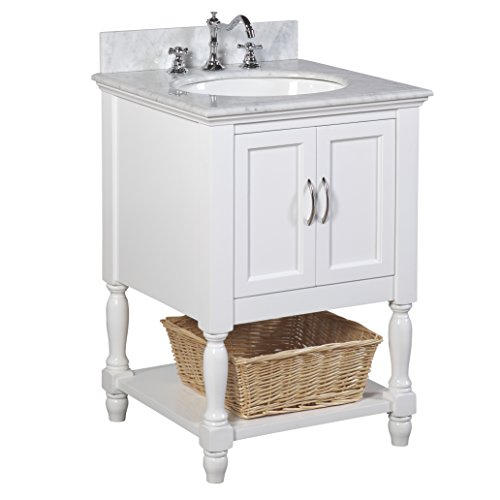 (Kitchen Bath Collection KBC00524WTCARR Beverly Bathroom Vanity with Marble Countertop, Cabinet with Soft Close Function & Undermount Ceramic Sink, 24