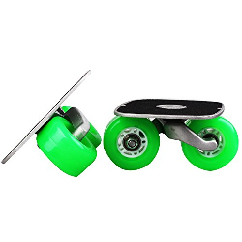 Green Portable Roller Road Drift Skates Plate Anti-slip Board Aluminum Truck With PU Wheels With ABEC-7 608 Bearings