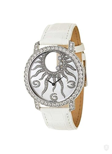 Chopard Happy Sun in White Gold with Diamond Bezel on White Alligator Leather Strap with MOP Dial Watch