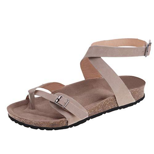 〓LYN Star〓 Women Flat Sandals Criss-Cross Open Toe Wide Elastic Strap Summer Shoes Ankle Strap Comfort Outdoor Shoes Beige