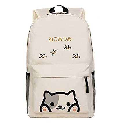 Image Unavailable. Image not available for. Color  Japanese Game Neko  Atsume ねこあつめ Cute Cat Backyard kitty collector Shoulder Bag Backpack School  Bag 9fb9f10374e47