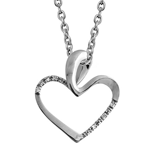 0.02 Ct Heart (Sterling Silver Diamond Heart Pendant Necklace (0.02)