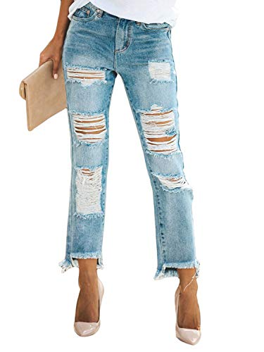 Meilidress Womens Juniors Distressed Ripped Boyfriend Skinny Denim Ankle Length Jeans (Medium, 13-Blue) Ankle Length Skinny Jeans