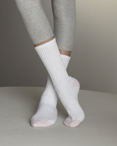 Gildan Ladies Crew Socks>3-9 WHITE/PINK GL651