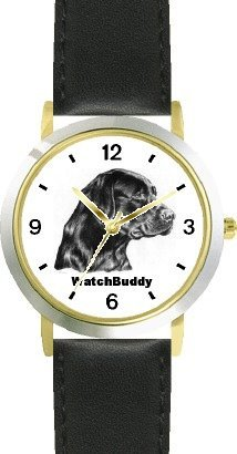 Labrador Retriever - Black (SC) Dog - WATCHBUDDY CLASSIC DELUXE TWO-TONE THEME WATCH - Arabic Numbers-Black Leather Strap-Size-Large ( Men's Size or Jumbo Women's Size )
