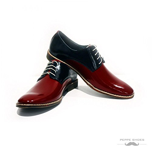 PeppeShoes Modello Viareggio - Handmade Italiennes Cuir Pour des Hommes Rouge Chaussures Oxfords - Cuir de Vachette Cuir Verni - Lacer
