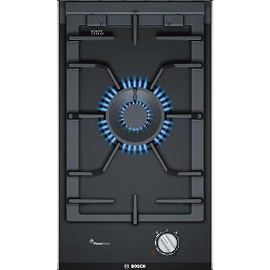Bosch PRA3A6D70 Serie I 8 - Placa de cocina de gas de 30 cm de ancho, tecnología FlameSelect, cristal vitrocerámico y parillas de hierro fundido, apta ...