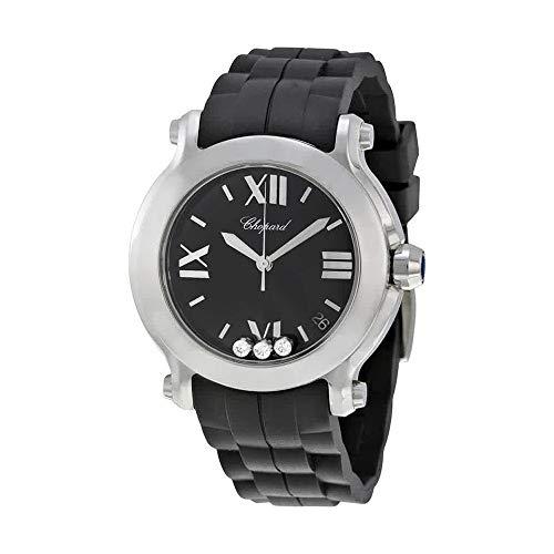 Chopard Happy Diamonds Watches - Chopard Women's 278475-3014 Happy Sport Round Diamond Black Dial Watch