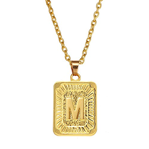 - AOASK Initial Letter A-Z Square Pendant Gold Plated Charm Necklace for Women Mens Jewelry (M)