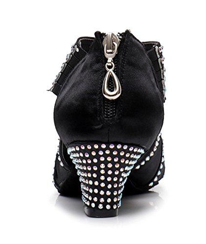 Wedding Black Ballroom Zip Rhinestones Dance Tango Sandals Shoes 5cm Modern Joymod Sparkle MGM Heel Latin Peep Toe Evening Women's 4RqAS