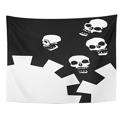 Emvency Wall Tapestry Coffin Falling Gear Skulls with White Space Angel Bone Bury Cemetery Crest Cross Curve Decor Wall Hanging Picnic Bedsheet Blanket 80x60 Inches ()