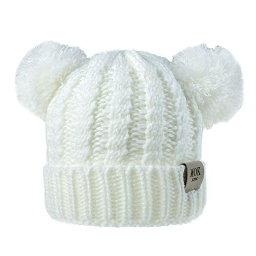 Children's Winter Wool Knit Beanie with Pompom Ears,Crytech Toddler Kids Cute Warm Chunky Thick Stretchy Knitted Cable Hairball Hats Soft Ear Double Pom Pom Skull Snow Ski Hat for Boy Girl (White)