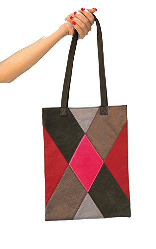 Small Leather Tote in Patchwork