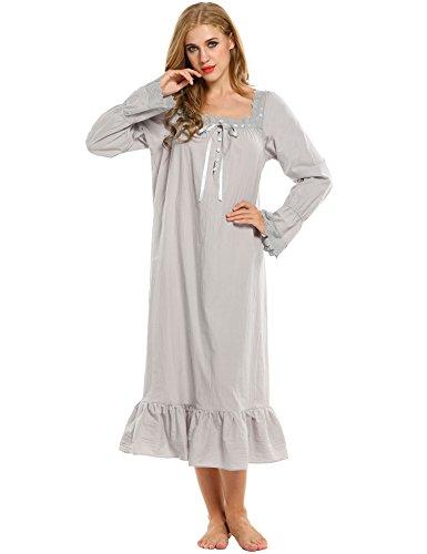 Avidlove Women s Cotton Long Sleeve Sleepwear Victorian-Style ... 934e1db79