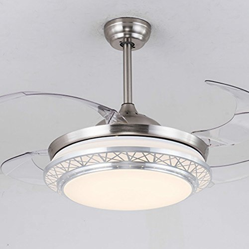 Lighting Groups Modern Acrylic Blades Cool Ceiling Fan Light Kit 42 Inch Energy-saving Mute Fan Chandeliers For Indoor Living Room Bedroom Dining Room Ceiling Light Fixture (42 Inch, Silver) by Lighting Groups (Image #5)