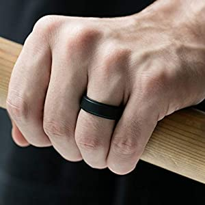 Metallic 4 Packs /& Singles Silicone Rubber Wedding Bands ROQ Silicone Wedding Ring for Men Black and Camo Colors Step Edge Sleek Design