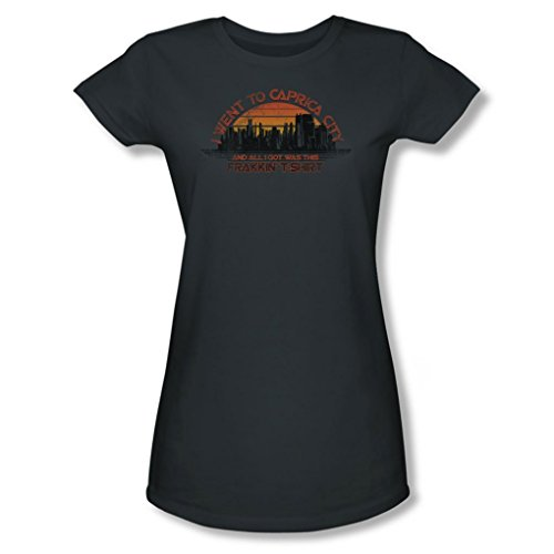Battlestar Galactica - Caprica City Juniors T-Shirt In Charcoal, Large, Charcoal - Battlestar Galactica Caprica City