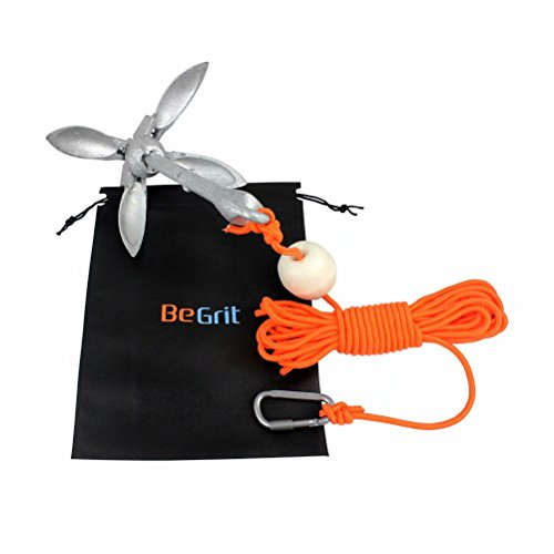 BeGrit Small Boat Anchor Kit Folding Grapnel Anchor Carbon Steel for Canoe Kayaks Jet Ski SUP Paddle Boards 3.5 lb with 32.8 ft Anchor Tow Rope Carrying Bag